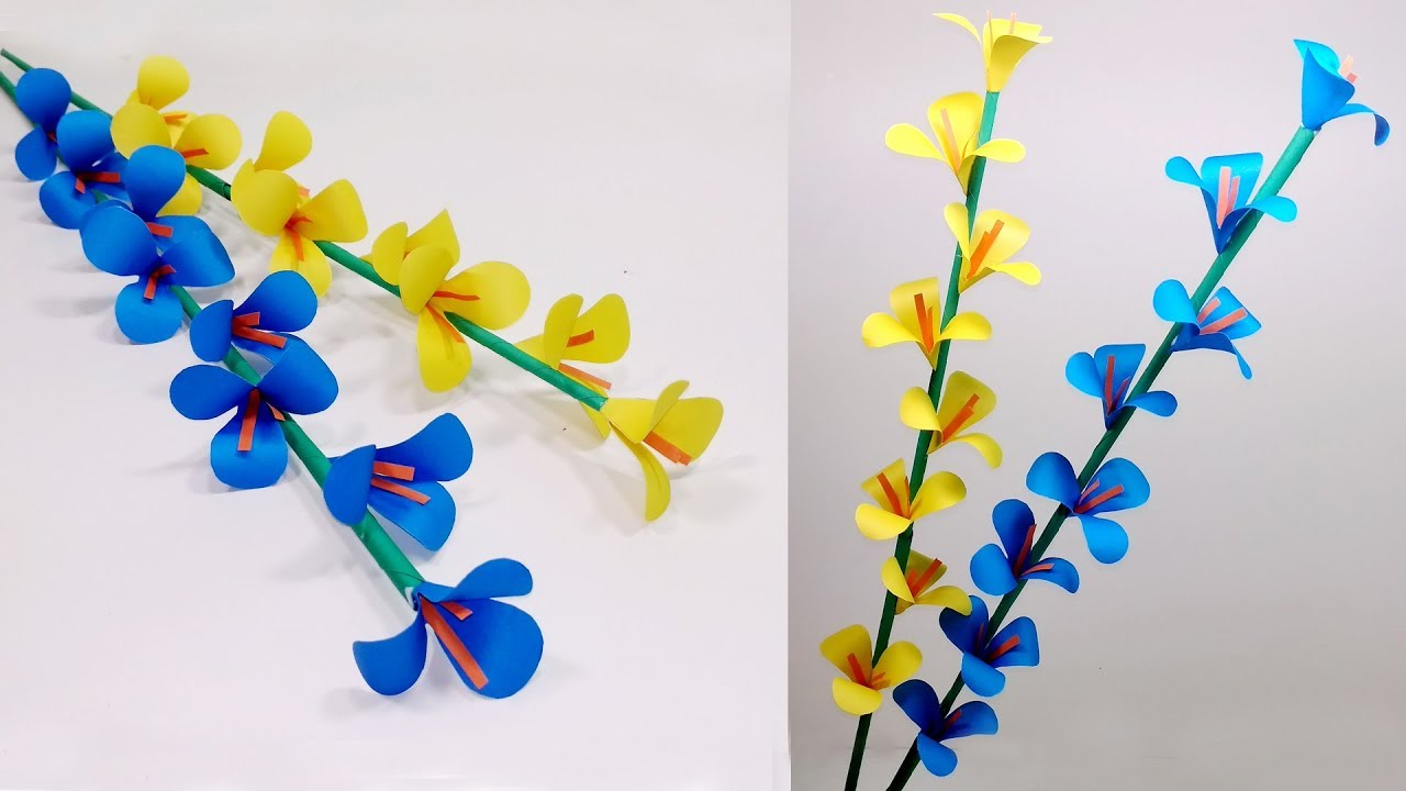 How to Make Beautiful Paper Stick Flower | DIY: Handcraft Ideas for ...