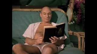 Riker plays practical joke on Picard.