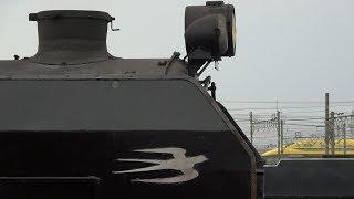 SL×幸せの黄色い新幹線!JR東海923形0番台 T4編成 ドクターイエロー 京都鉄道博物館 C62-2号機の真横通過!