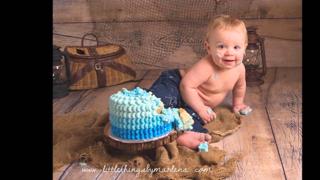 Fishing theme cake smash youtube for Fishing first birthday