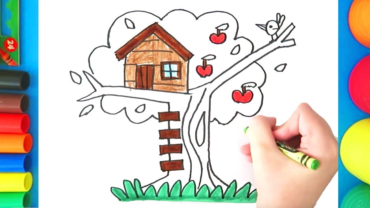 How to draw a Tree house for kids - Easy Treehouse coloring page ...