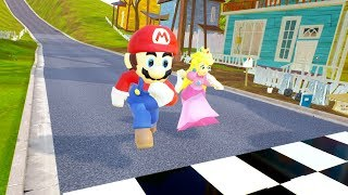MARIO VS PEACH RACES - Hello Neighbor