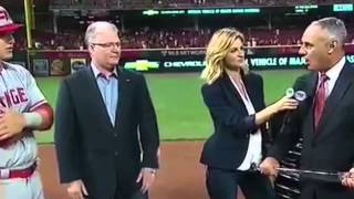 REVERSED - Rob Manfred accidentally tickles Erin Andrews with the MVP bat