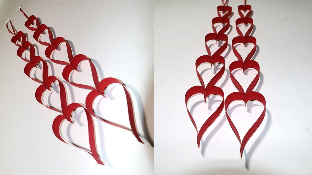 Diy valentine decoration craft paper heart hanging for for Valentine s day room decor