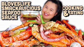 KING CRAB LEGS + GIANT TIGER SHRIMP + MUSSELS W/ BLOVES SMACKALICIOUS SAUCE MUKBANG 먹방 EATING SHOW!
