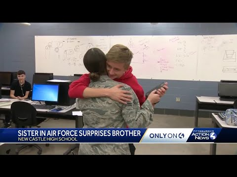 Home for Thanksgiving, airman surprises her brother at New Castle High School