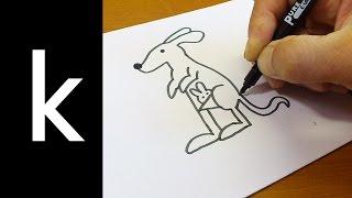 Mektup ''K K'' Kullanılarak Çizim Doodle nasıl yapılır ! Alfabe Sürpriz çizim karikatür