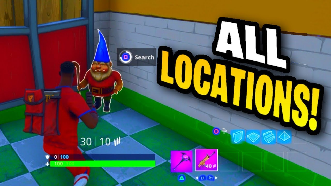 all 7 hungry gnome locations fortnite battle royale week 8 challenges search hungry gnomes - fortnite 7 hungry gnomes