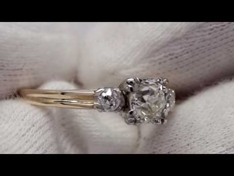 3 stone old mine cut antique diamond ring