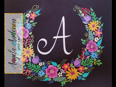 Floral Wreath Chalkboard Acrylic Painting Tutorial