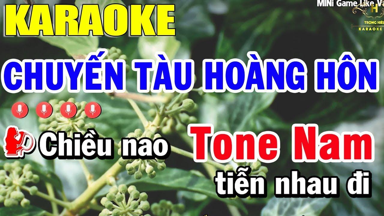 Chuyến Tàu Hoàng Hôn Karaoke Tone Nam Nhạc Sống | Trọng Hiếu