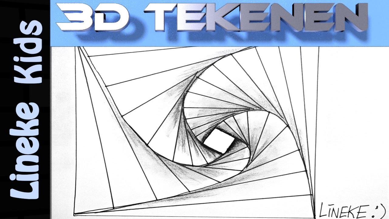 3d Tekenen In Stappen Optische Illusie Spiraal Voor Beginners Youtube