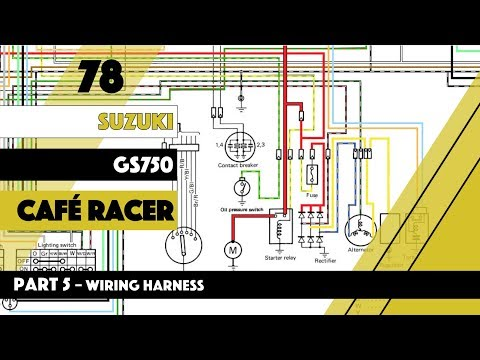 Cafe Racer build Suzuki GS 750 Wiring Harness Part 5 - YouTube on