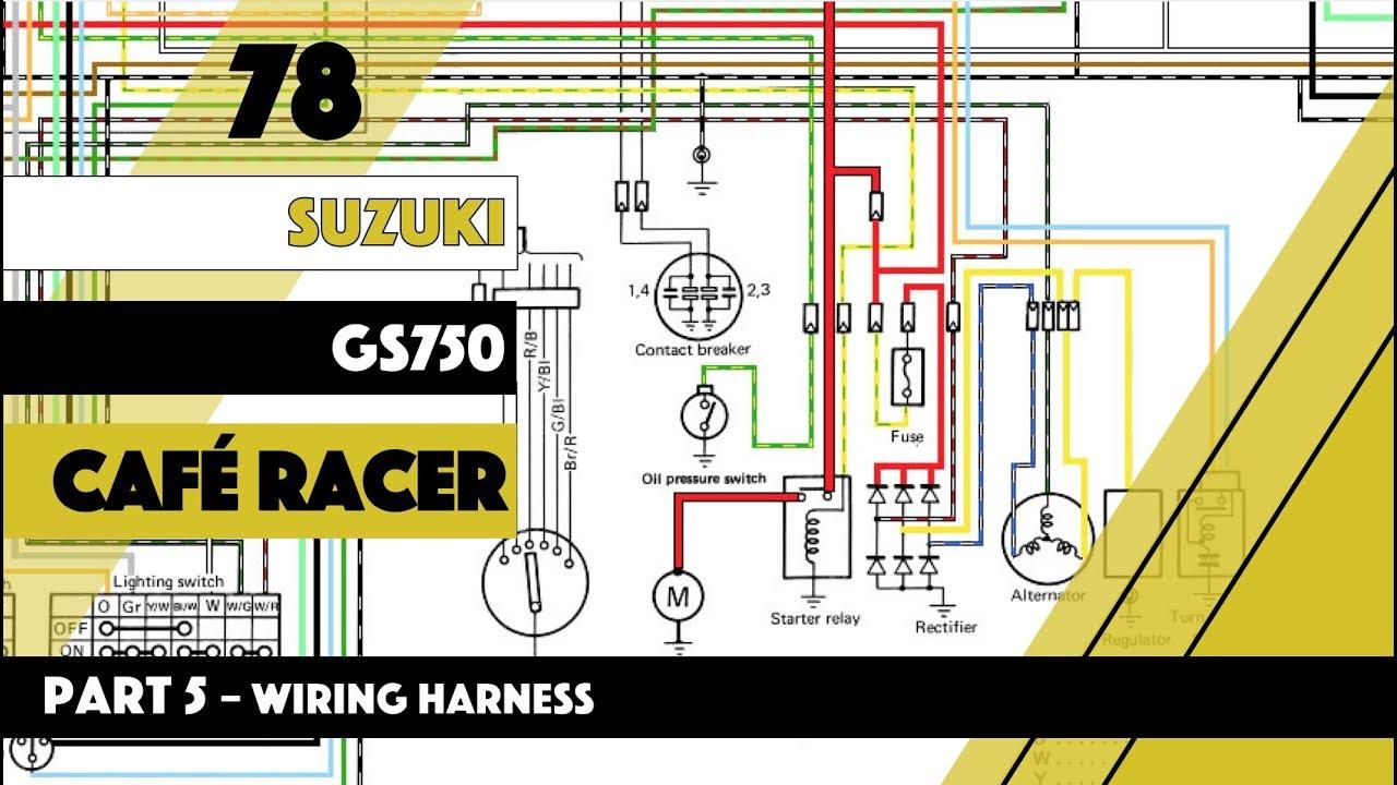 Cafe Racer build Suzuki GS 750 Wiring Harness Part 5 on