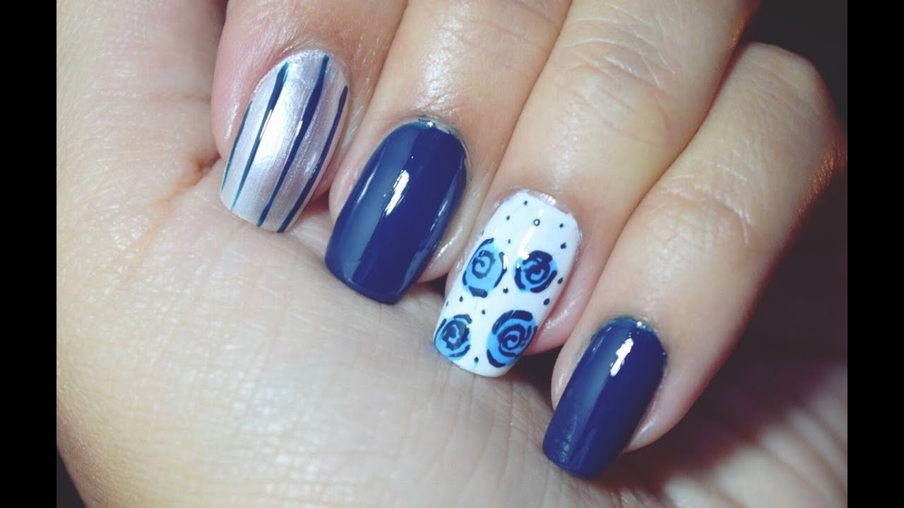 Diseo de uas con rosas azules  Laura Trujillo  YouTube