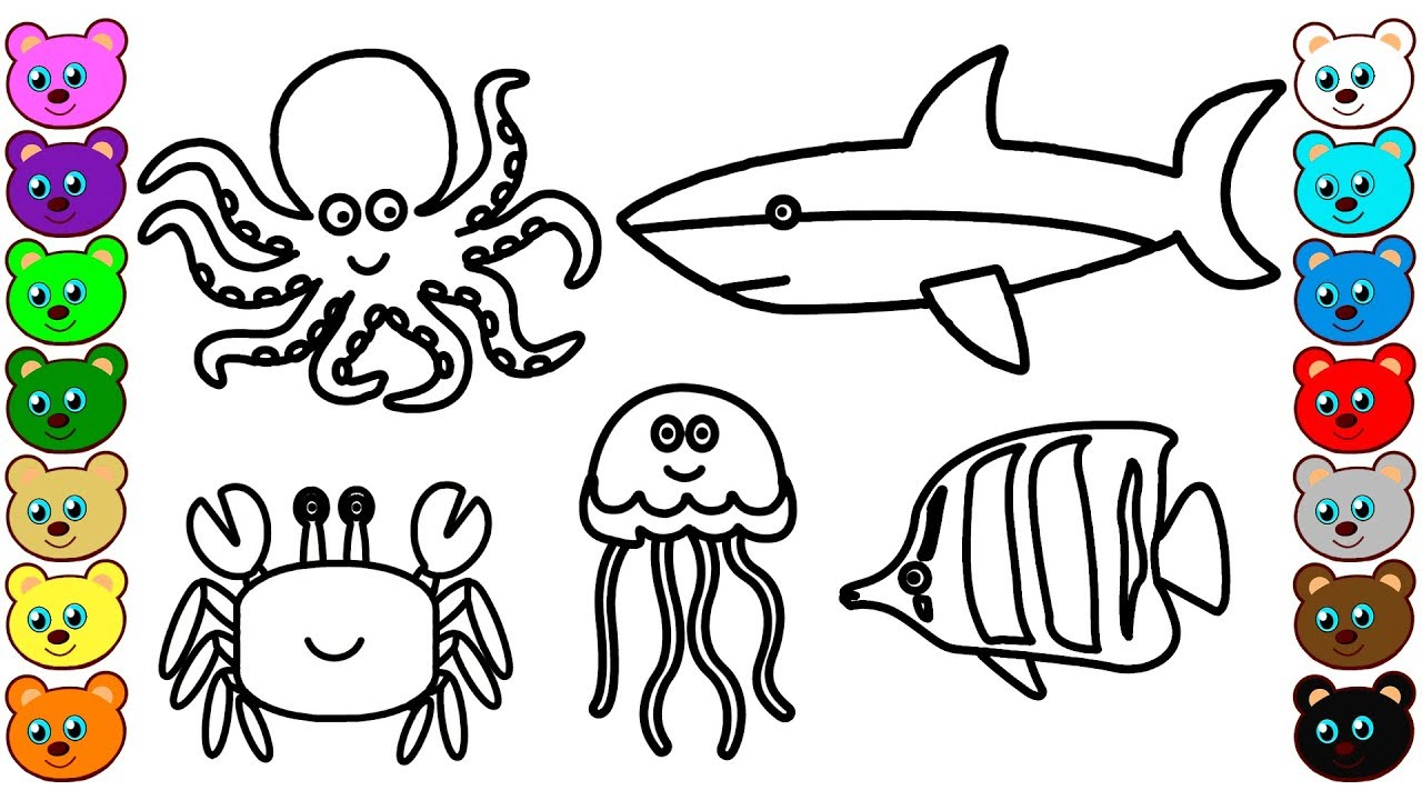 Coloring for Kids with Sea Animals - Coloring Book for Children