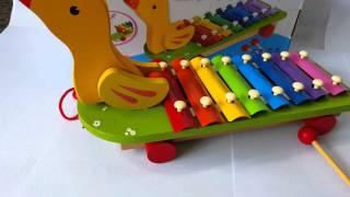 ของเล่นไม้ระนาดเป็ด Hand Knocks-qin Wooden Toy Animal Bauls The Xylophone