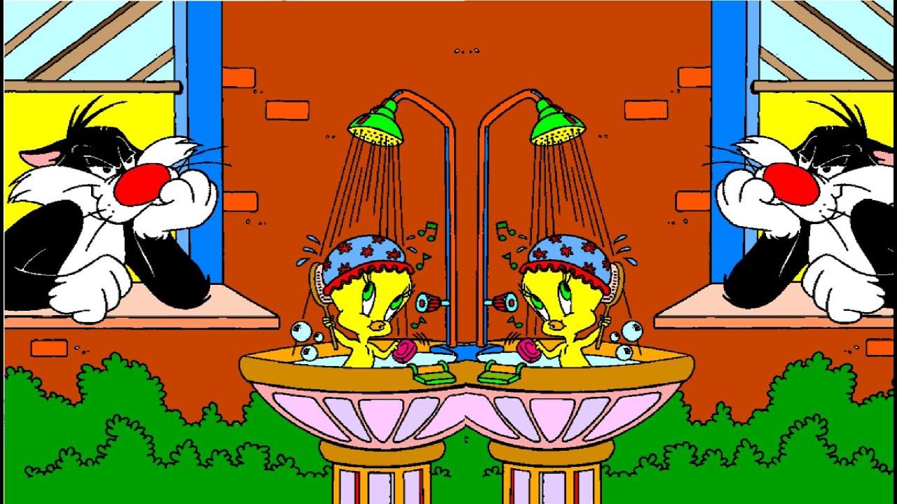 Tweety Taking A Bath In Water Fountain