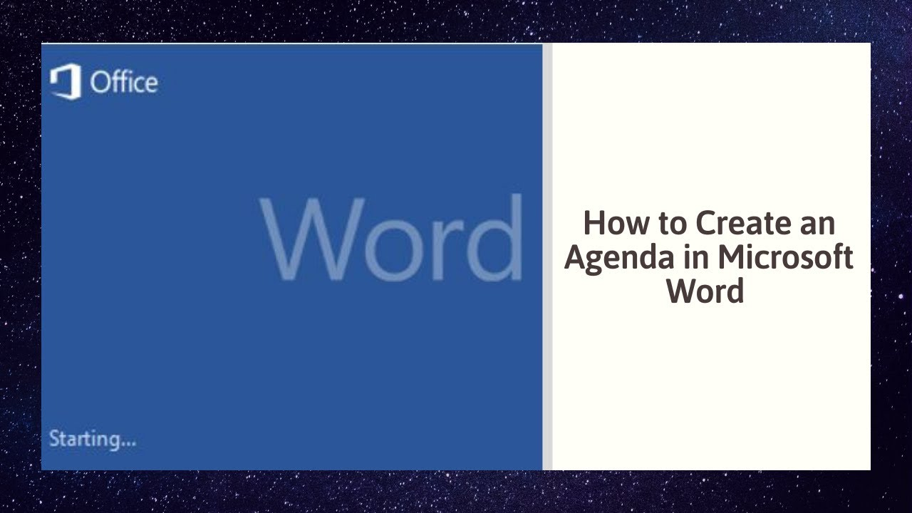How To Create An Agenda In Microsoft Word Youtube