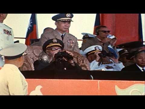 Generalissimo Chiang Kai Shek looks through binoculars during Nan-Chang exercise ...HD Stock Footage