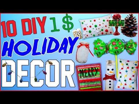 10 DIY $1 Holiday Room Decor Ideas! - Dollar Store Christmas Room Decor! - Cheap And Easy To Make! - 동영상
