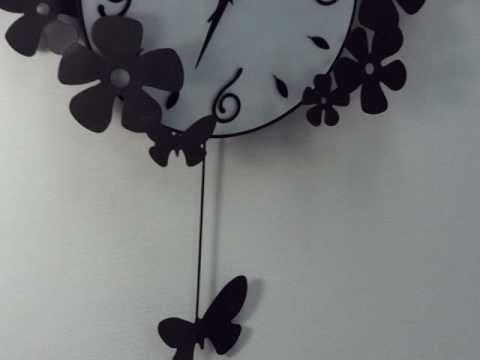 Modern Pendulum Wall Clock Butterfly by HOMELOOcom YouTube