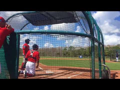 Roldani Baldwin, Boston Red Sox catching prospect, hits vs. Drew Pomeranz in live BP (Feb. 25, 2018)