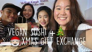 VEGAN SUSHI + XMAS GIFT EXCHANGE WITH MY PALS | JASLYNGOH
