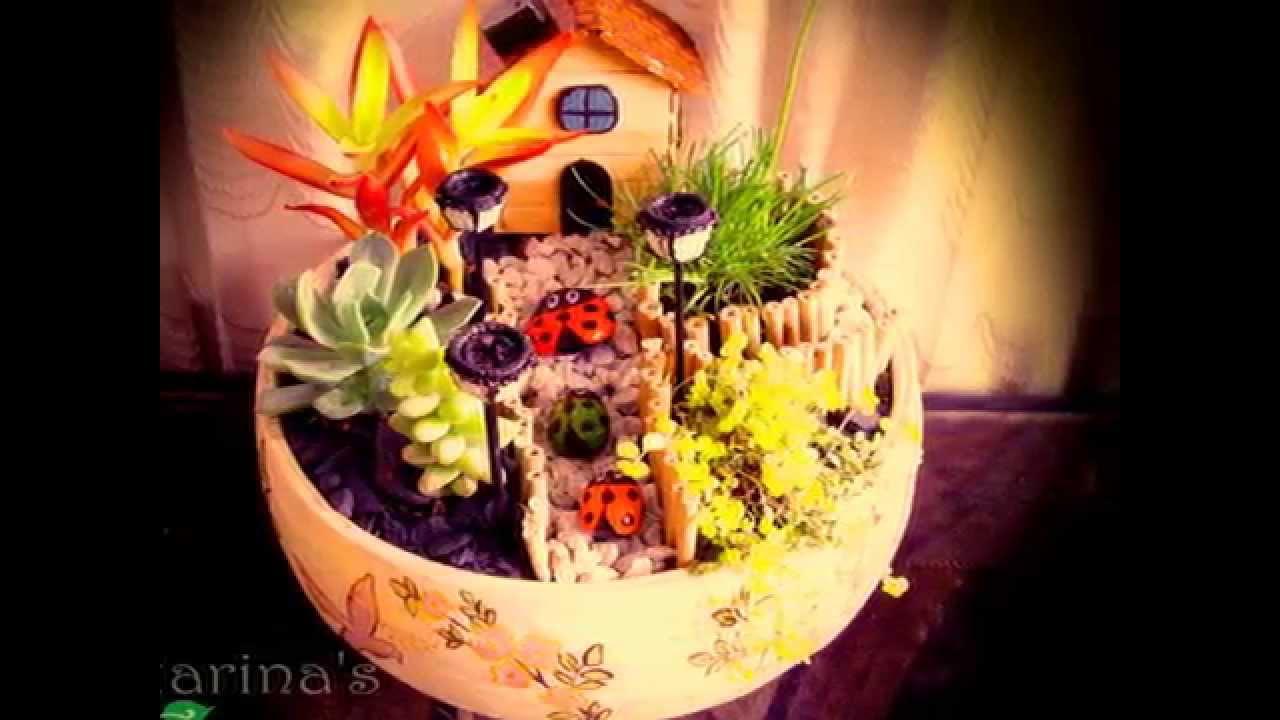 Mini jardines en macetas de cer mica y madera youtube for Jardines con piedras fotos