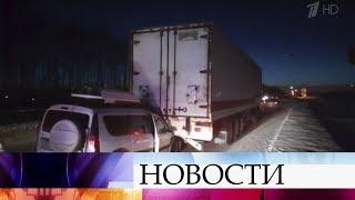 В Башкортостане фура два километра тащила за собой набитую пассажирами легковушку.