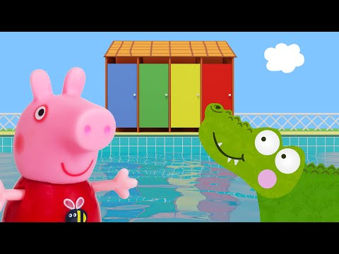 Peppa Pig Game | Crocodile Hiding in Peppa Pig Toys - Peppa Pig Swimming Fun Playset
