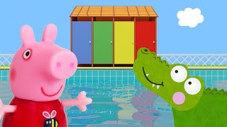 Peppa Pig Game | Crocodile Hiding in Peppa Pig Toys - Peppa Pig Swimming Fun Playset
