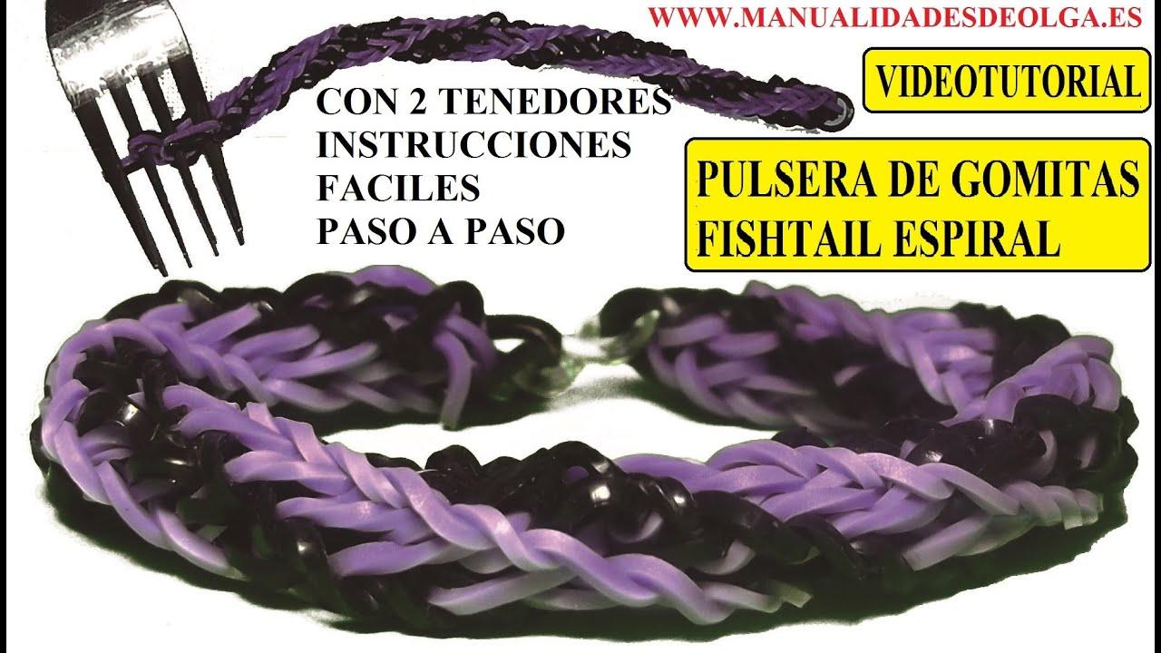 COMO HACER PULSERA DE GOMITAS FISHTAIL ESPIRAL DOBLE TWIST CON DOS