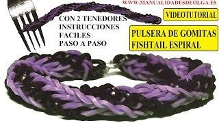 Repeat youtube video COMO HACER PULSERA DE GOMITAS FISHTAIL ESPIRAL DOBLE TWIST CON DOS TENEDORES. VIDETUTORIAL DIY.