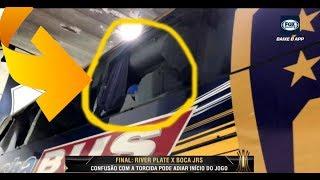 Boca Juniors x River Plate -  Ônibus do Boca Juniors Depredado