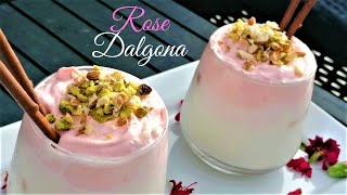 Rose Dalgona | Rooh Afza Dalgona   | Dalgona Rose Milk | Ramadan Drinks Recipe