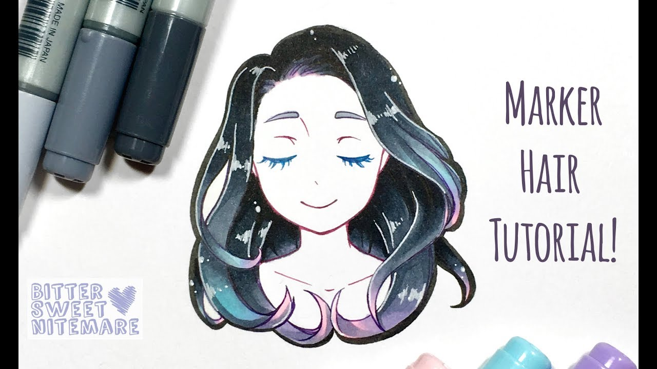 How to: Copic Marker Hair Tutorial [Anime/Manga style]