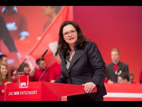 Andrea Nahles auf dem Augsburger Parteitag