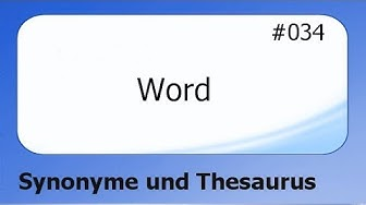 Word #034 Synonyme und Thesaurus [deutsch]