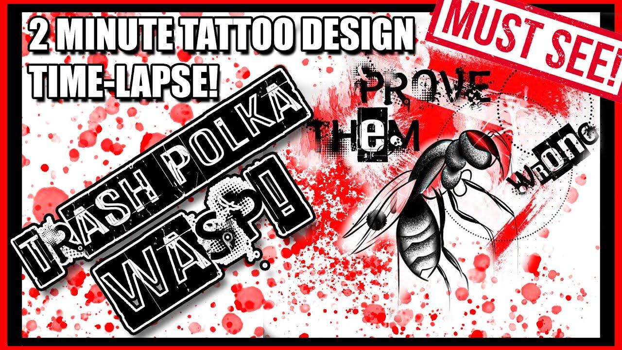 Trash Polka Wasp Tattoo Design! Custom Design! 2 Minute Time-Lapse Using Photoshop & Wacom Cintiq!