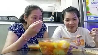 Vlog ăn vặt 10// Ngân trổ tài nấu chè trôi nước ba màu