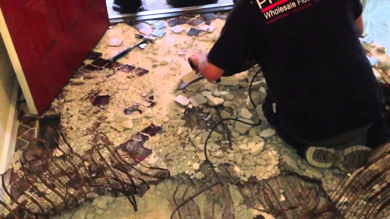How to remove a mudset tile floor youtube how to remove a mudset tile floor dailygadgetfo Gallery