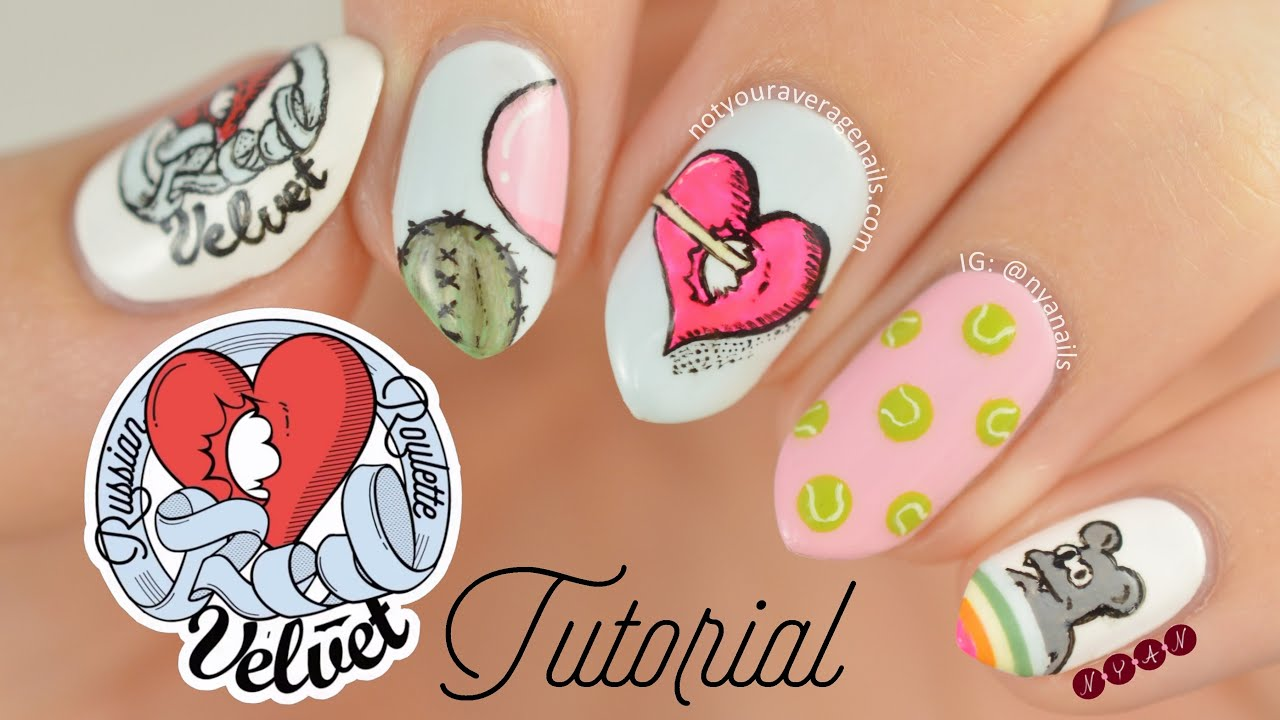 Red Velvet Russian Roulette Nail Art Tutorial Youtube