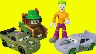 Imaginext Joker Turns Disney Pixar Cars Army Lightning McQueen Into Joker Car Mater Rescues Him