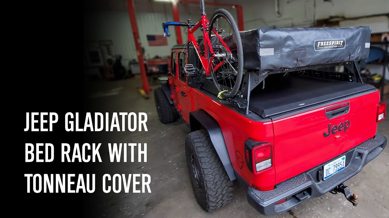 Jeep Gladiator Tonneau Cover With Bed Rack Youtube
