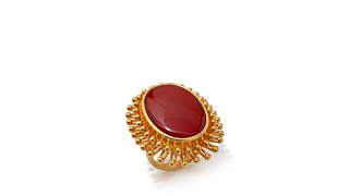 Asa Jewelry Simulated Red Agate Goldtone Frame Ring thumbnail