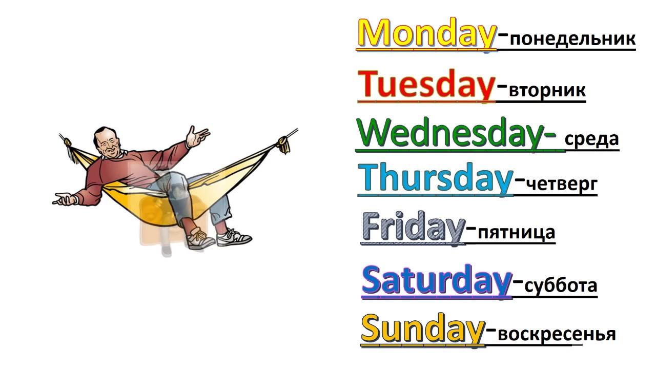 Картинки дни недели на английском