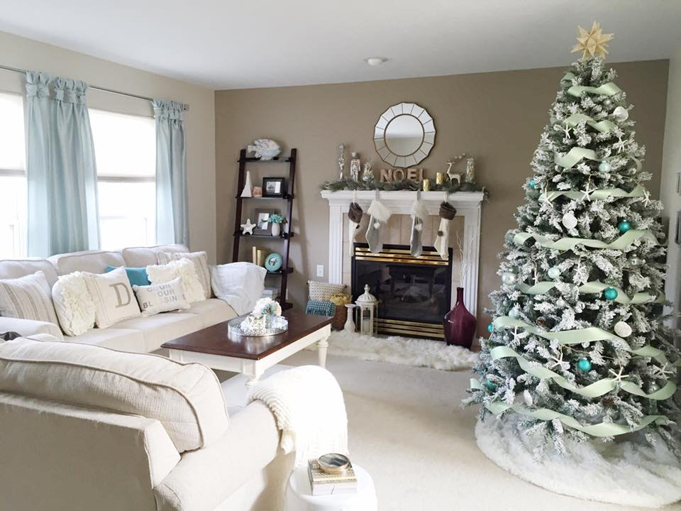 Coastal Christmas Decorations Living Room Tour 2015 ...