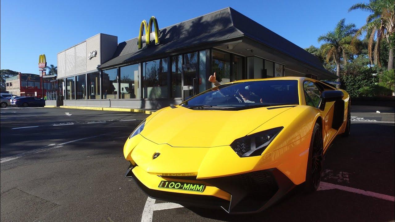 Lamborghini Aventador Sv Mcdonalds Drive Thru Youtube