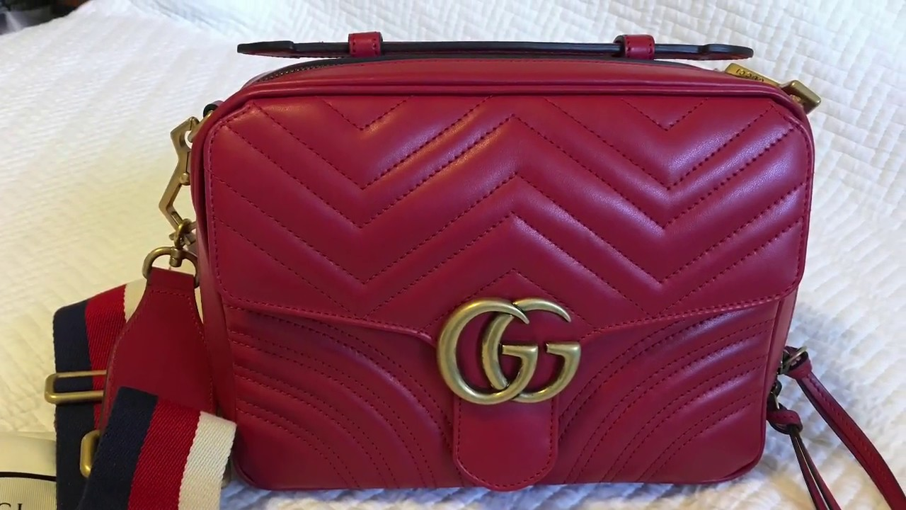 8c999aafda2 Gucci Small GG Marmont 2.0 Leather Camera Bag with Webbed Strap ...